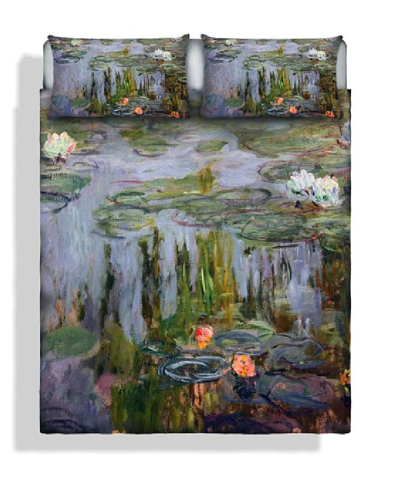 Set lenzuola matrimoniali Ninfee di Monet puro cotone stampa digitale