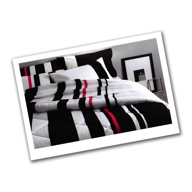 Set lenzuola percalle somma per letto matrimoniale parallel 250x290 bianco nero - Set letto matrimoniale ...