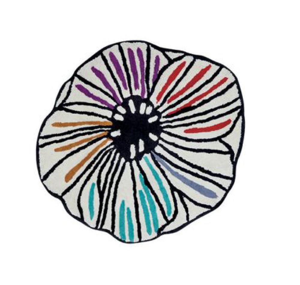 Tappeto bagno Missoni TRICIA a fiore diamtero 80cm pesante 2300 grammi mq