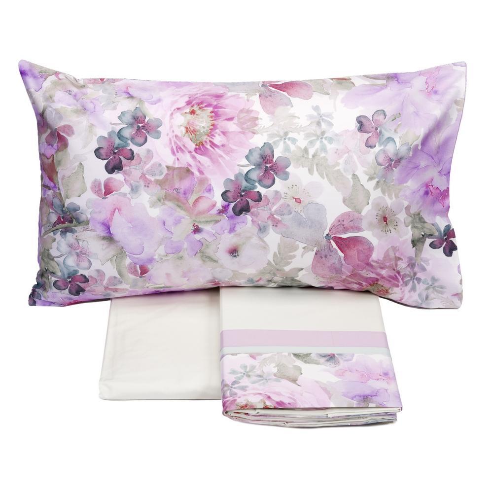 Fazzini completo lenzuola maxi matrimoniale monet rosa raso di cotone for Biancheria letto bassetti