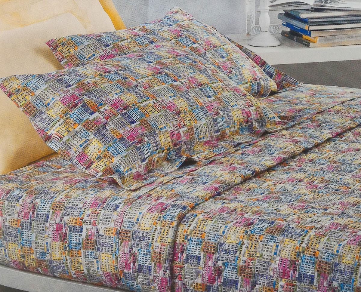 Set lenzuola matrimoniale 2 piazze mirabello percalle village multicolore - Set letto matrimoniale ...