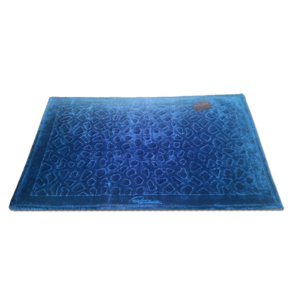 Roberto Cavalli tappeto da bagno JERAPAH blu spugna di puro cotone