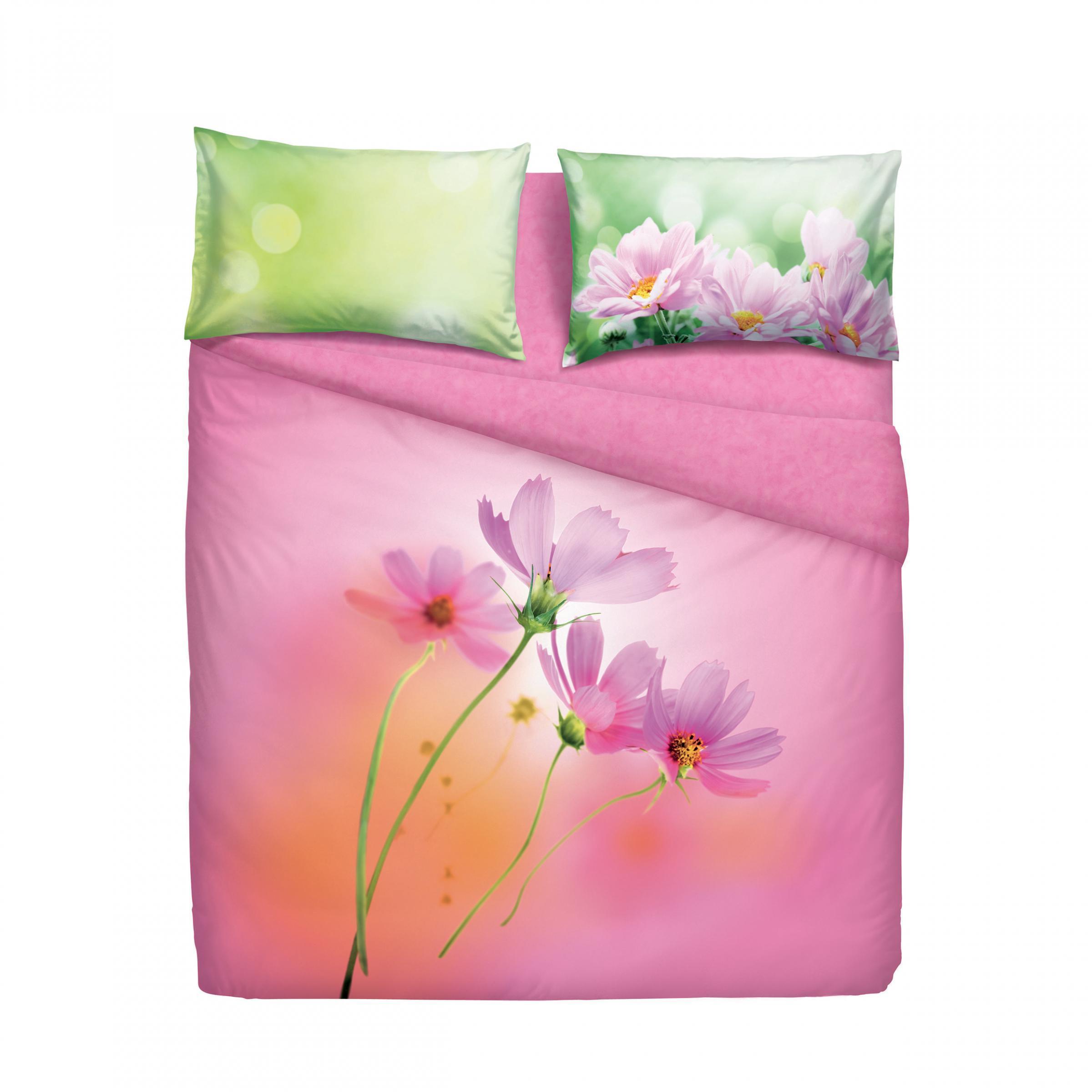 Set copripiumino letto matrimoniale 2 piazze bassetti pink spring rosa - Set letto matrimoniale ...