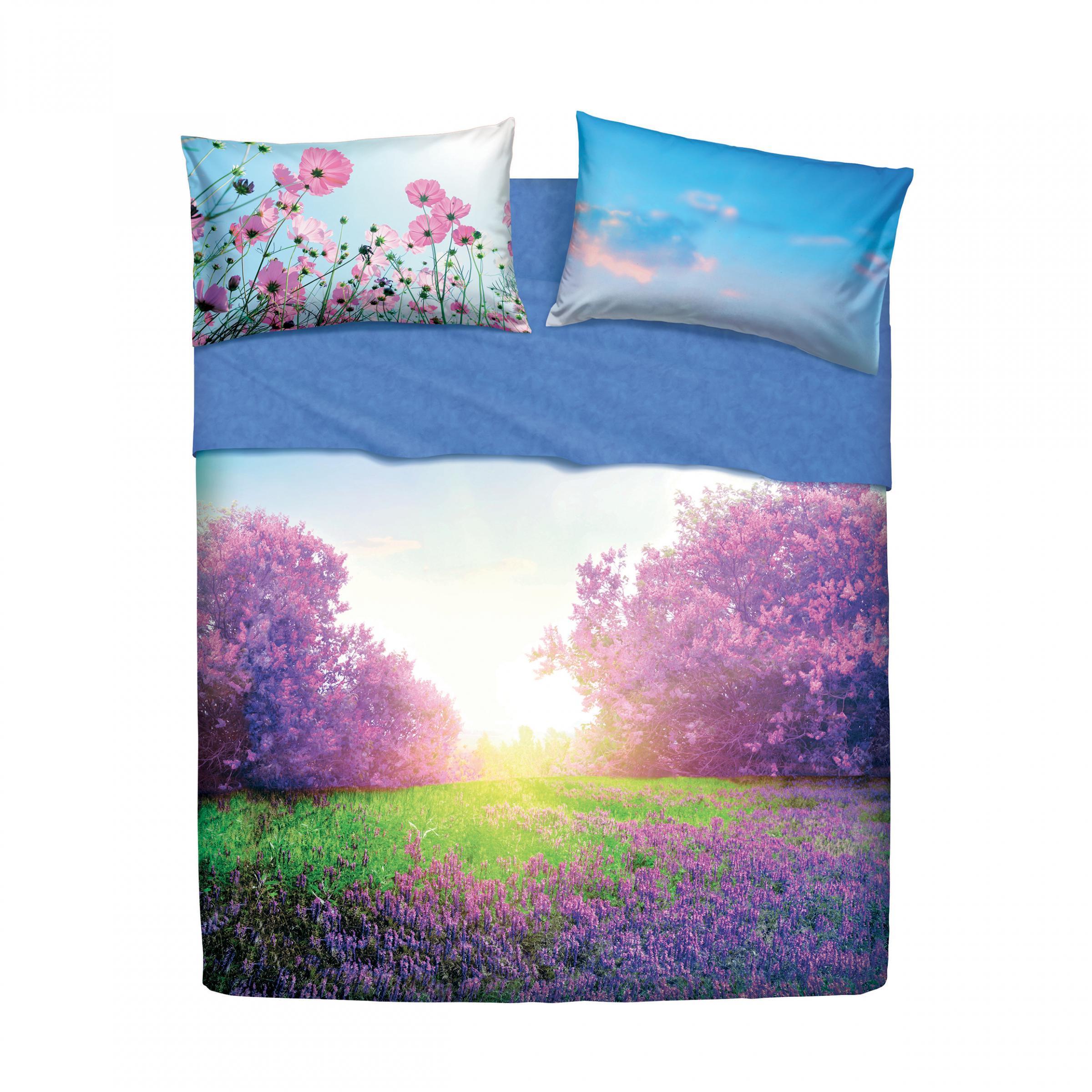 96490fff07 Set lenzuola letto singolo 1 piazza BASSETTI PURPLE SUMMER stampa digitale