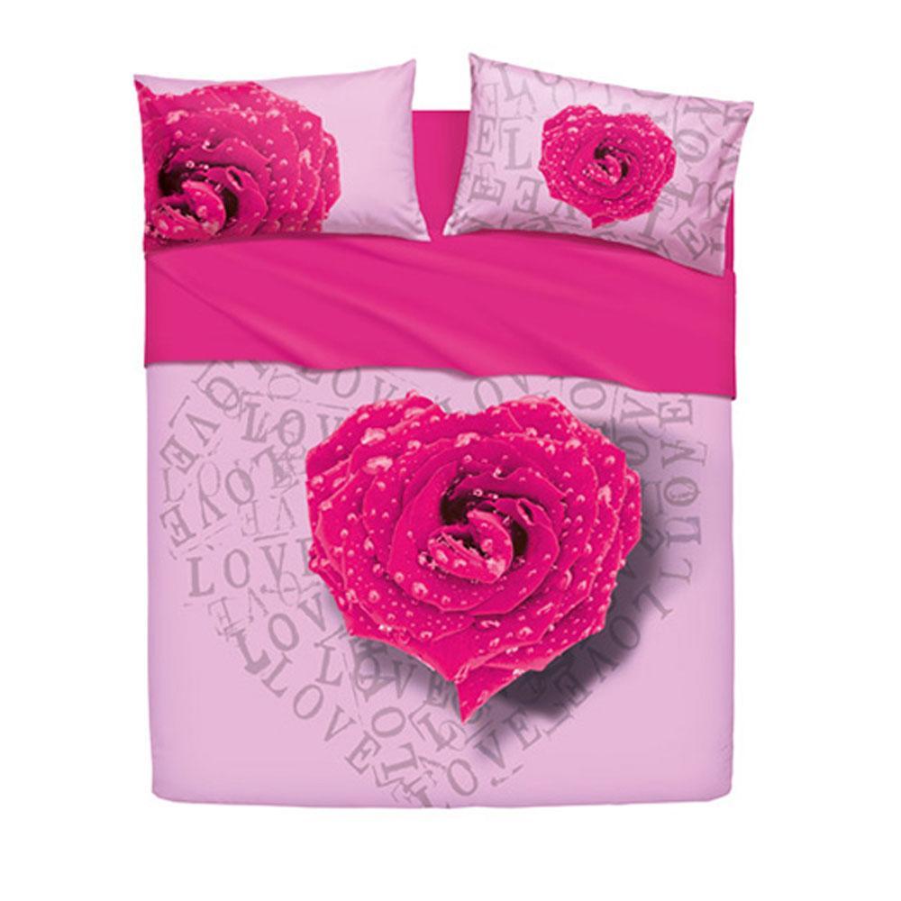 Set copripiumino letto matrimoniale bassetti love is rose fuxia - Set letto matrimoniale ...