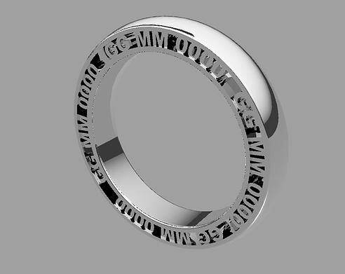 Square wedding ring AD with side engraving
