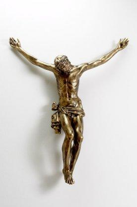 Corpo  Cristo in vetroresina cm. 80 finitura bronzata (Casa d'arte Landi)