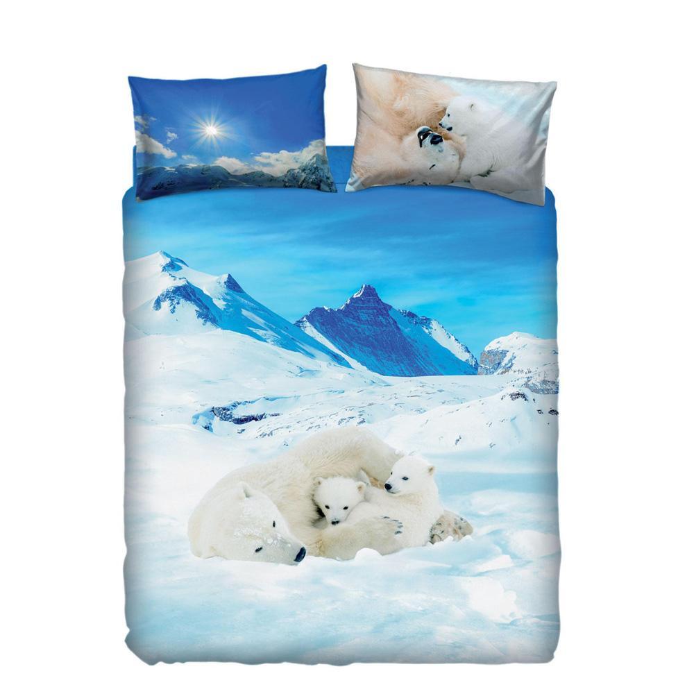 Copripiumino Una Piazza E Mezza Vendita.Dettagli Su Set Copripiumino Letto Piazza E Mezza Bassetti Bears In The Snow Azzurro
