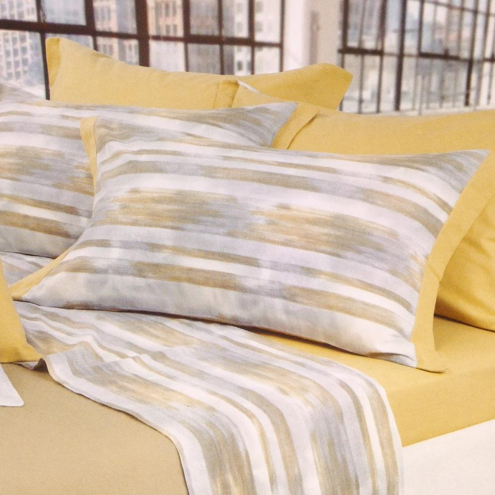 Set lenzuola invernali letto matrimoniale 2 piazze caldo cotone righe giallo