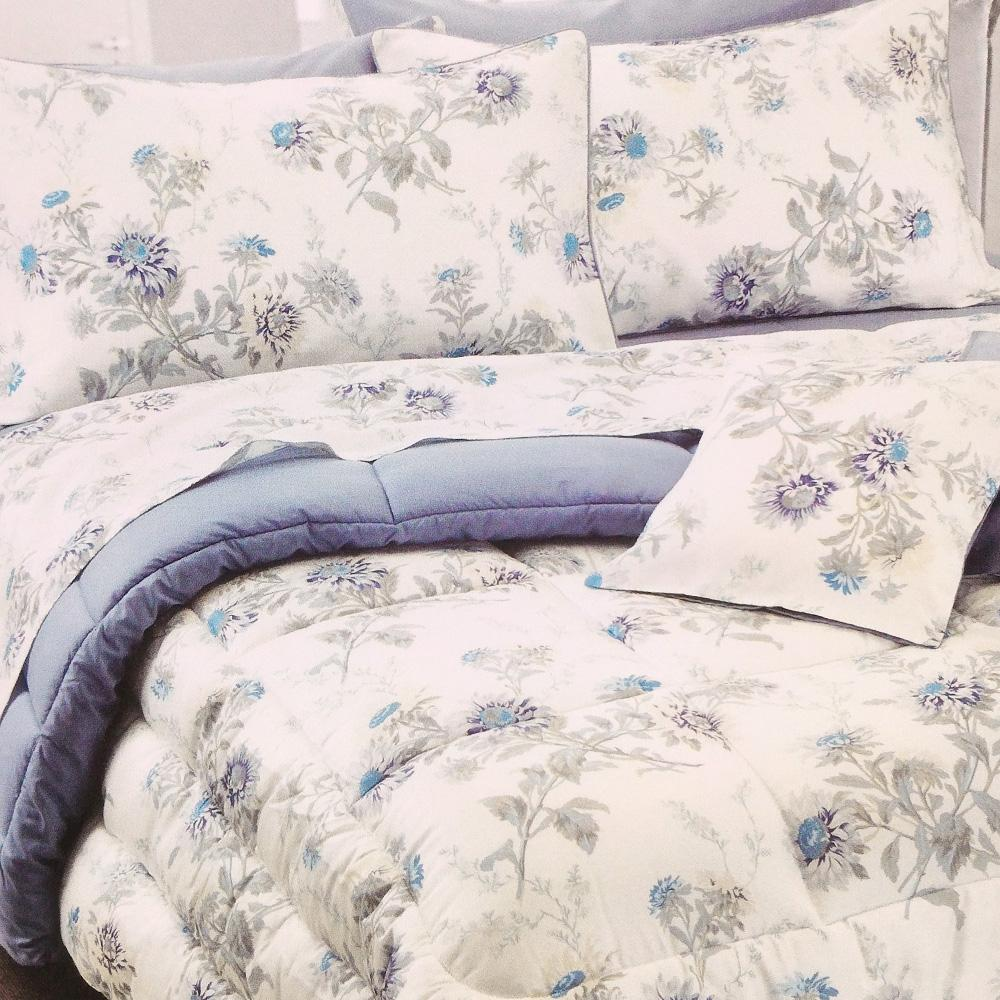Set lenzuola per letto matrimoniale Platinum Satin raso floreale blu