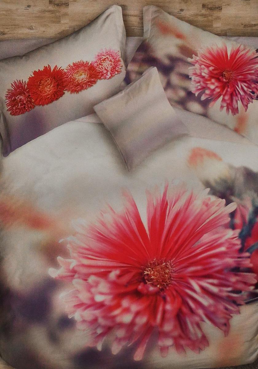 Cogal Copripiumino.Set Copripiumino Per Letto Matrimoniale Flower Power Fiore Rosso
