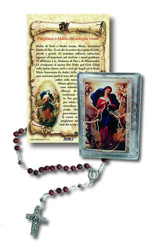Rosario e cartoncino Madonna che scioglie i nodi