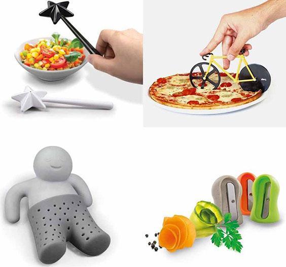 sale e pepe a forma di baccetta magica, rotella taglia pizza a forma di bicicletta,infusore di te a forma di omino e temperino per le verdure.