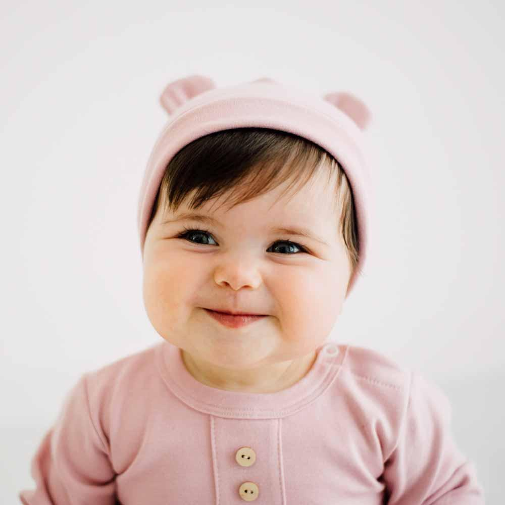 Cappellino con orecchie neonato  in cotone biologico