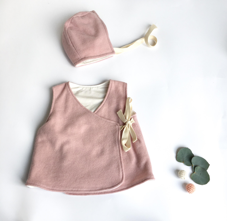Calottina rosa in cotone biologico e lana