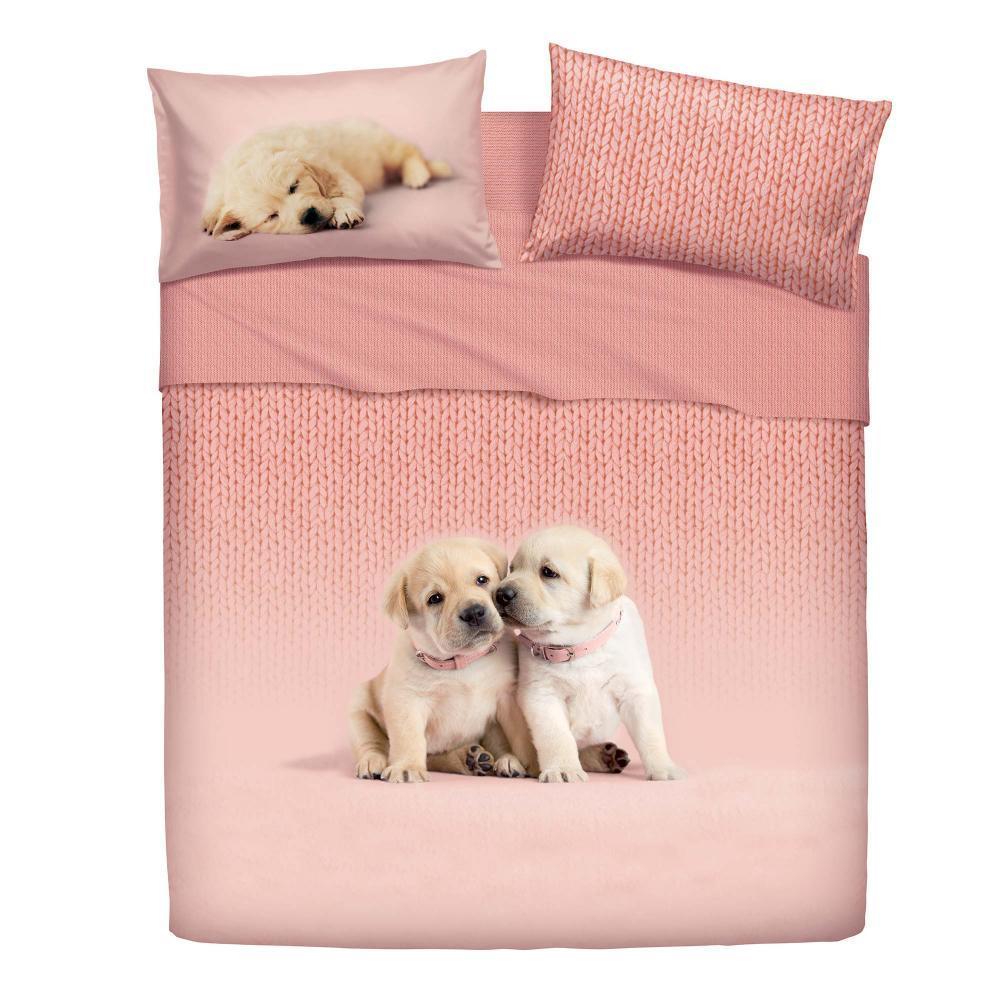 Lenzuola Matrimoniali Con Animali.Set Of Sheets Bassetti One Half Bed Soft Dog Pink