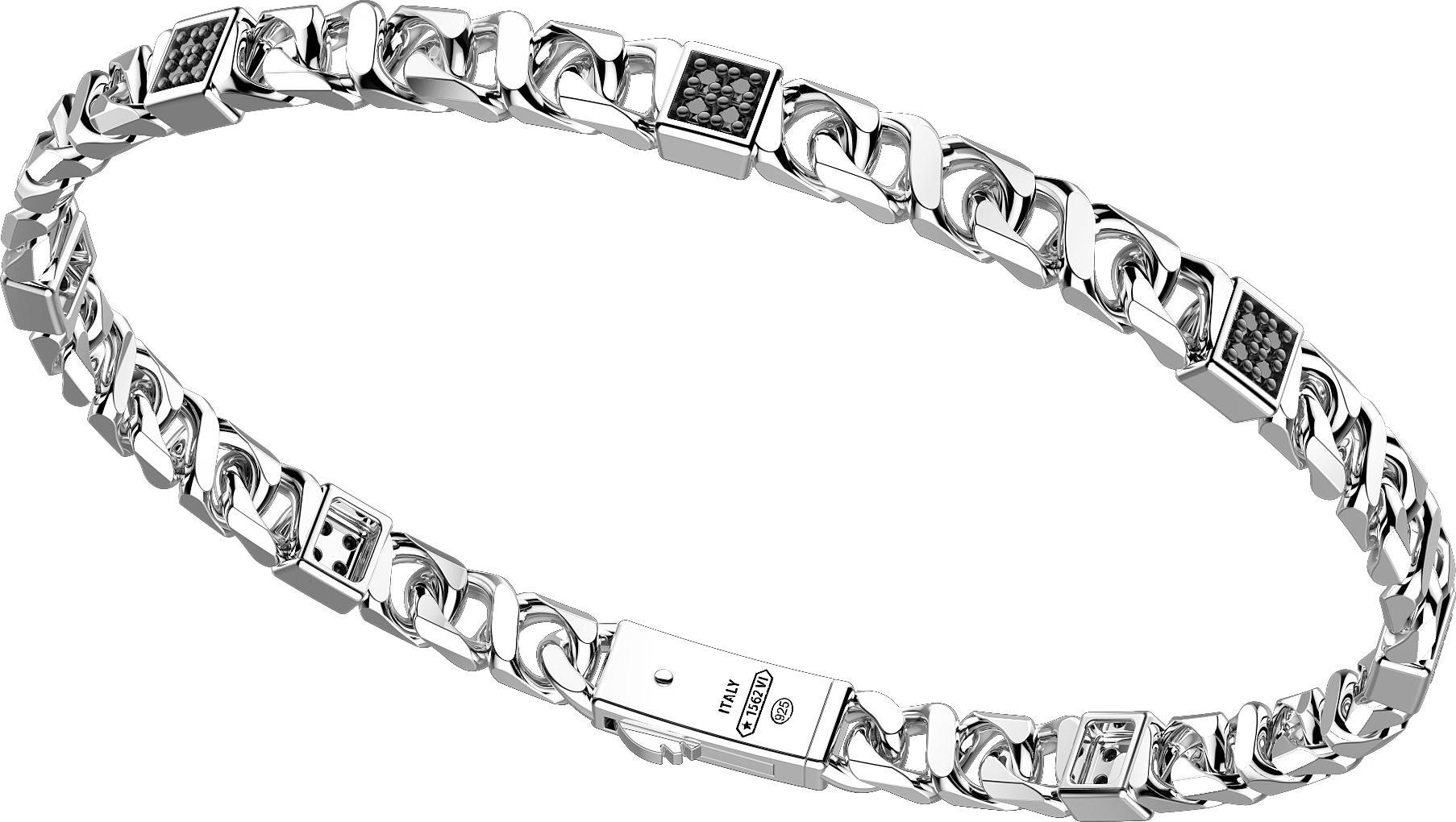 bracciale zabcan a catena in argento con spinelli neri
