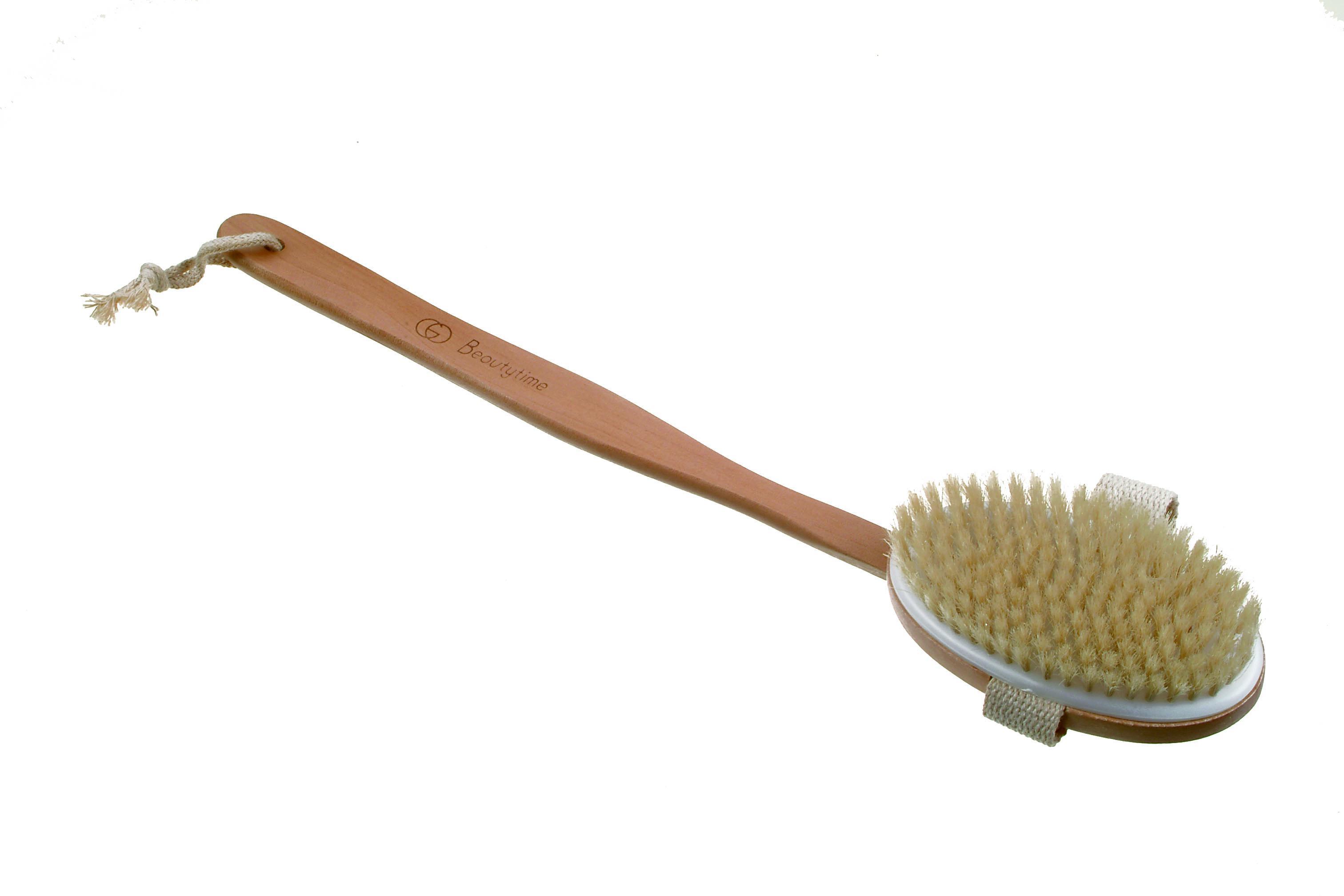 Spazzola bagno con manico in legno