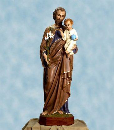 Statua in vetroresina di San Giuseppe con Bambino cm. 125 con occhi di cristallo