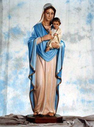 Statua Madonna con Bambino cm. 125 con occhi di cristallo in vetroresina vuota.