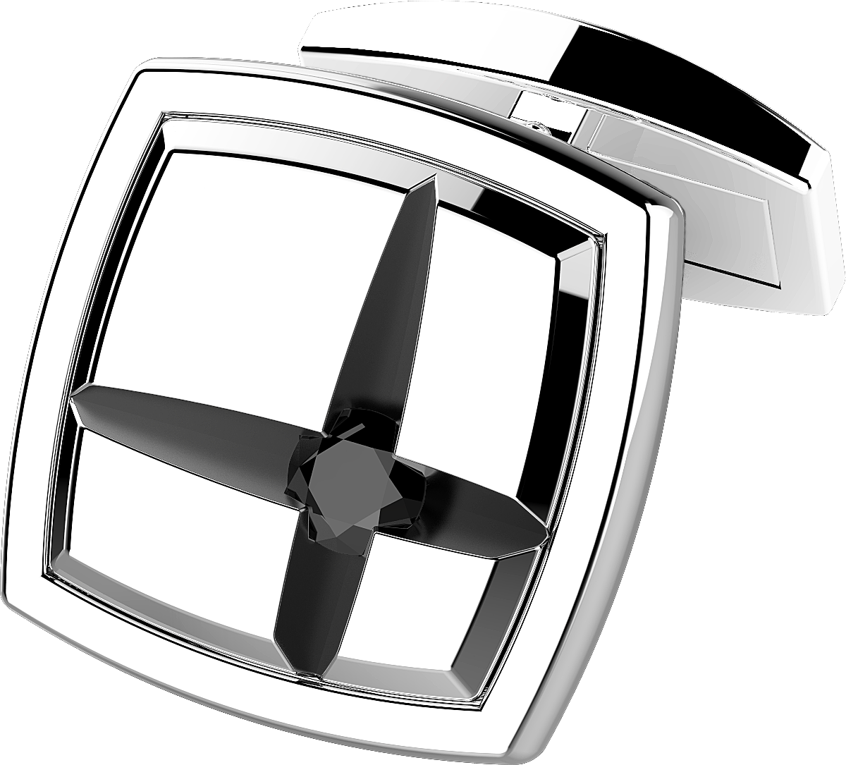 Gemelli argento bicolore zancan con spinelli neri