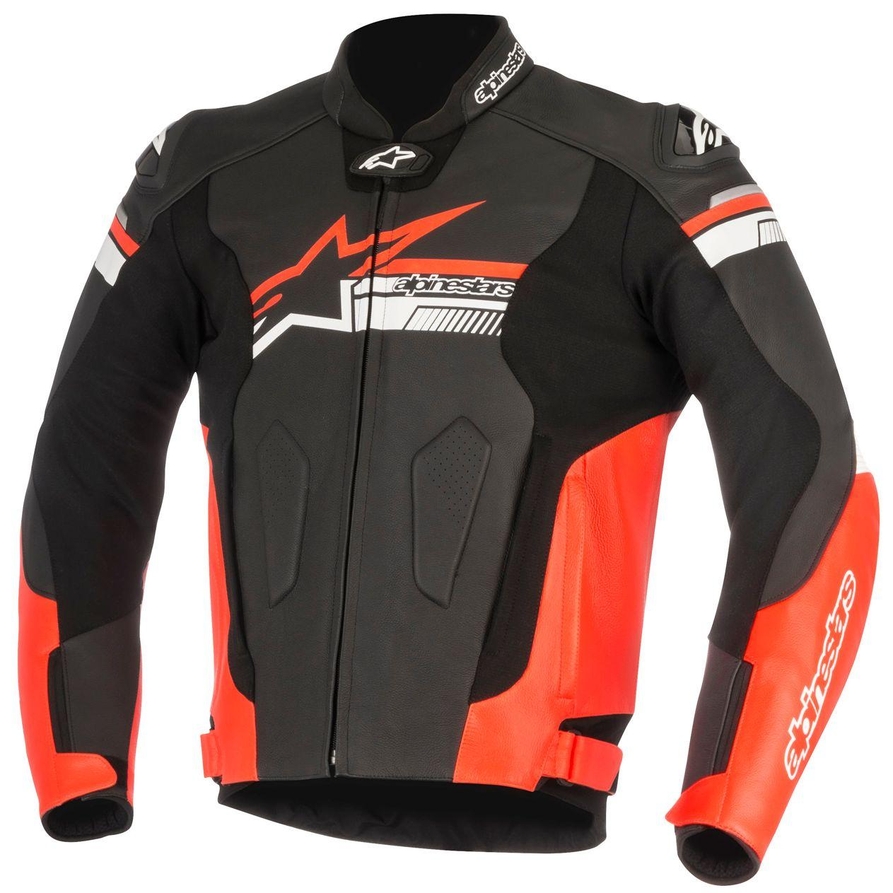 GIACCA MOTO IN PELLE ALPINESTARS FUJI BLACK RED FLUO