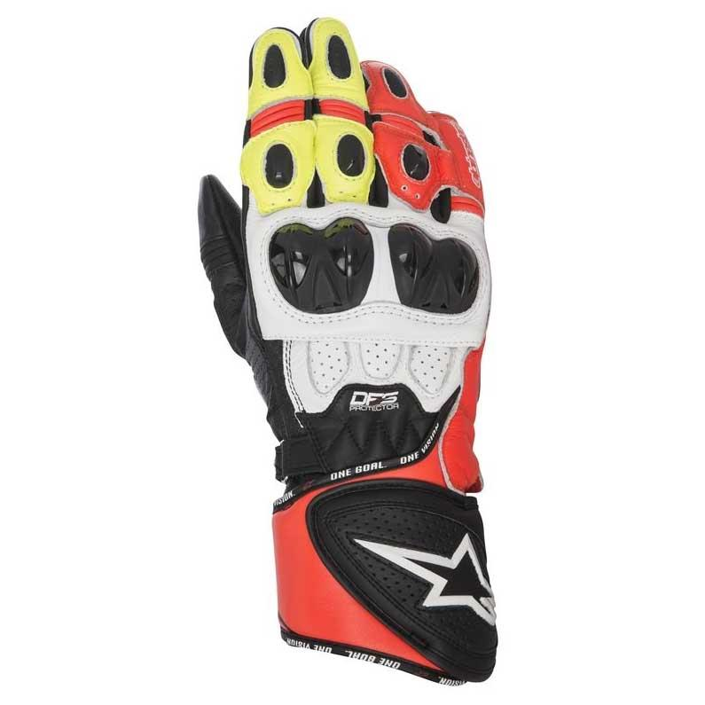 GUANTI MOTO IN PELLE ALPINESTARS GP PLUS R GLOVES BLACK WHITE RED YELLOW FLUO cod. 3556517