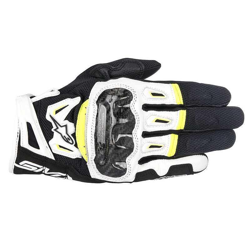 GUANTI MOTO IN PELLE ALPINESTARS SMX-2 AIR CARBON V2 GLOVE BLACK WHITE YELLOW FLUO COD. 3567717