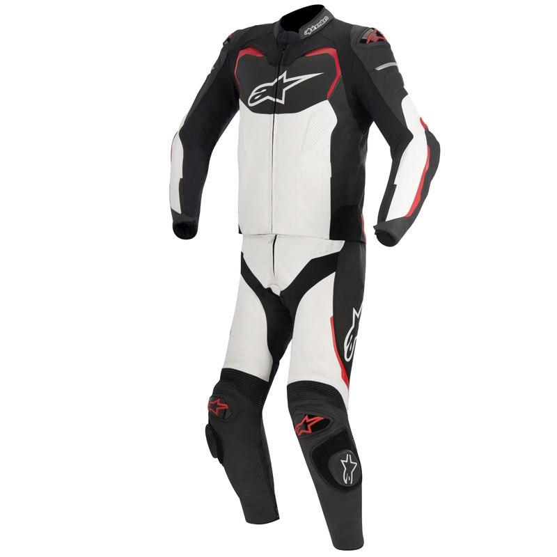 TUTA MOTO IN PELLE ALPINESTARS GP PRO 2PC BLACK WHITE RED
