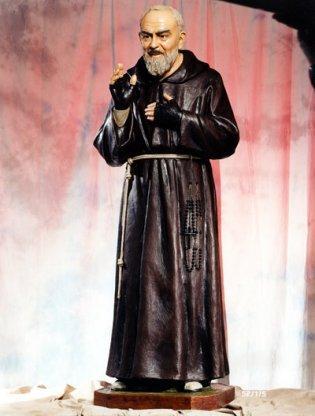 Statua in vetroresina San Pio cm. 175 studio d'arte  Landi con occhi di cristallo decorata anche per uso esterno