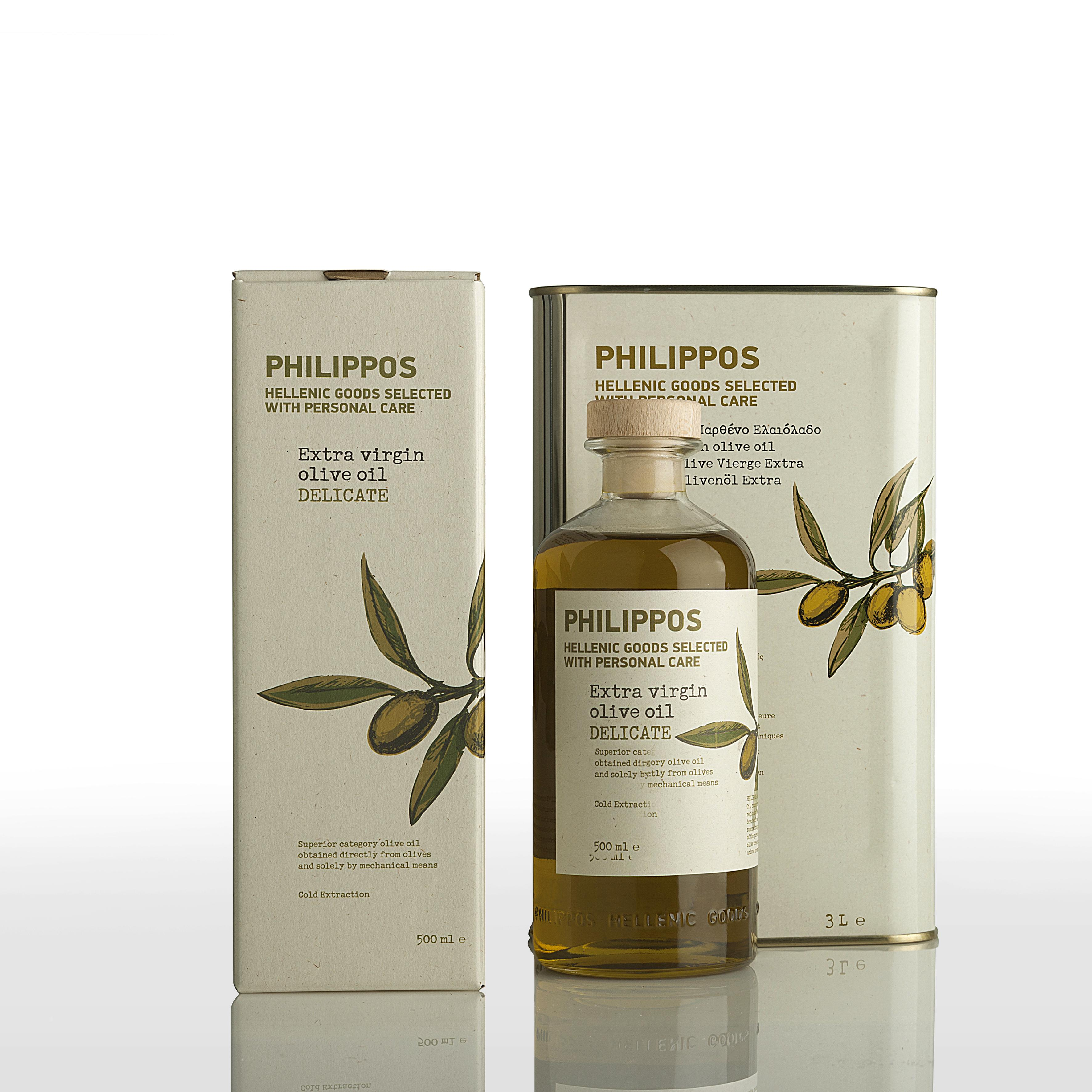 PHILIPPOS DELICATE Extra Virgin Olive Oil 500ml 3L