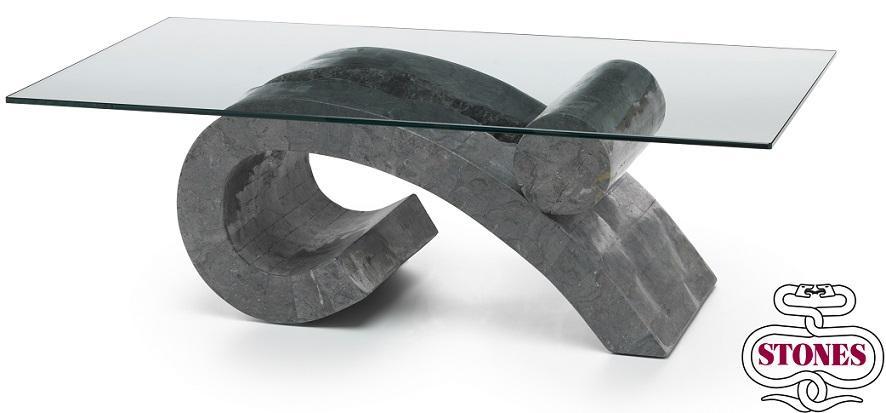Tavolino da Salotto Virgola in Pietra FossilStone e Vetro