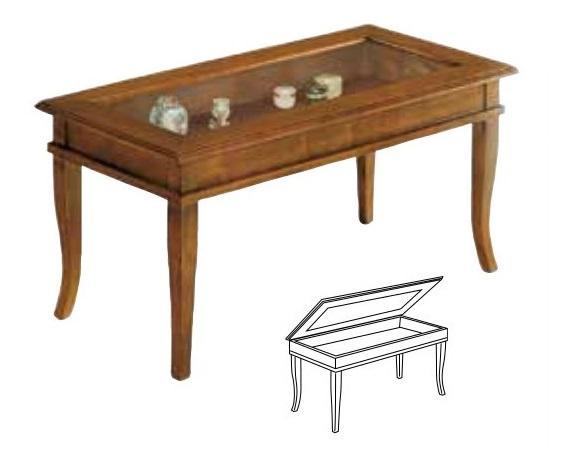 Credenza Arte Povera Vetro : Tavolino bacheca in arte povera noce con piano vetro