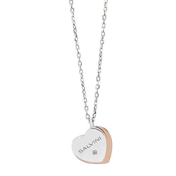 Collana SALVINI BE HAPPY oro 9k oro bianco e rosa con diamantino