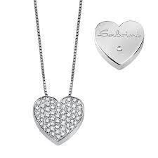 Collana salvini cuore oro 18 k diamanti Kt 0.17 G color