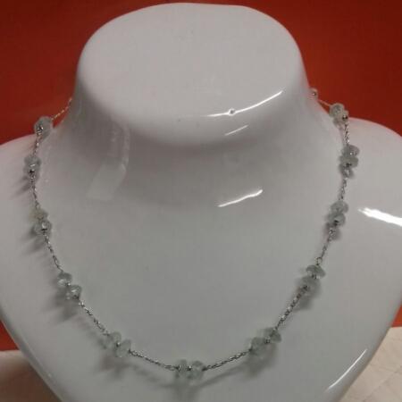 Collana in oro bianco e quarzo bianco, vendita on line   OROLOGERIA BRUNI Imperia