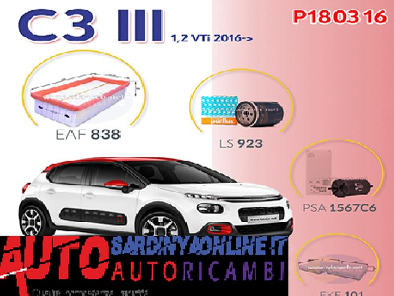 Super Kit Filtri Citroen C3 IIII Serie Dal 2016 1,2 Vti