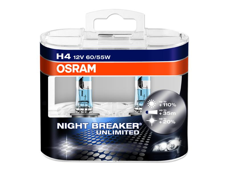 Kit Lampade Osram Night Breaker Unlimited 12v H4 60/55w