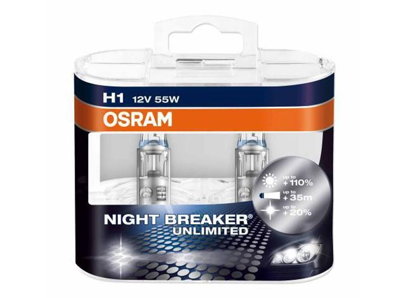 Kit Lampade Osram Night Breaker Unlimited 12v H1 55w