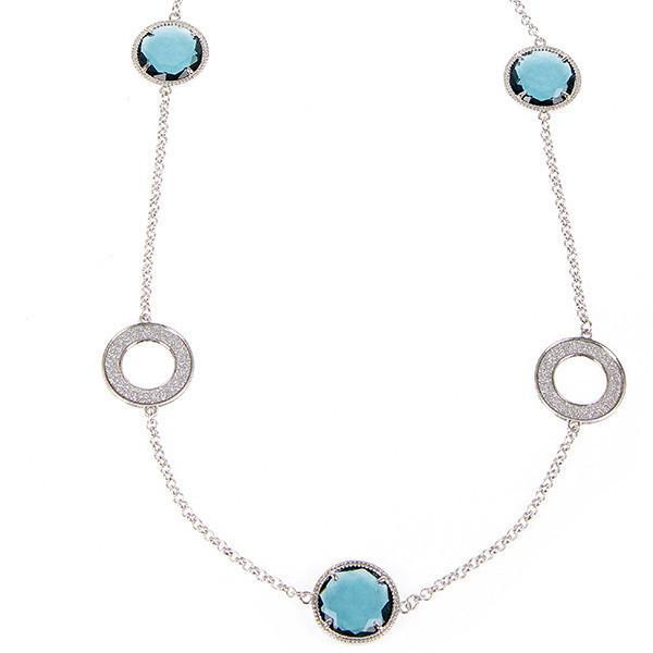 Collana lunga con cristalli blu London e inserti glitterati