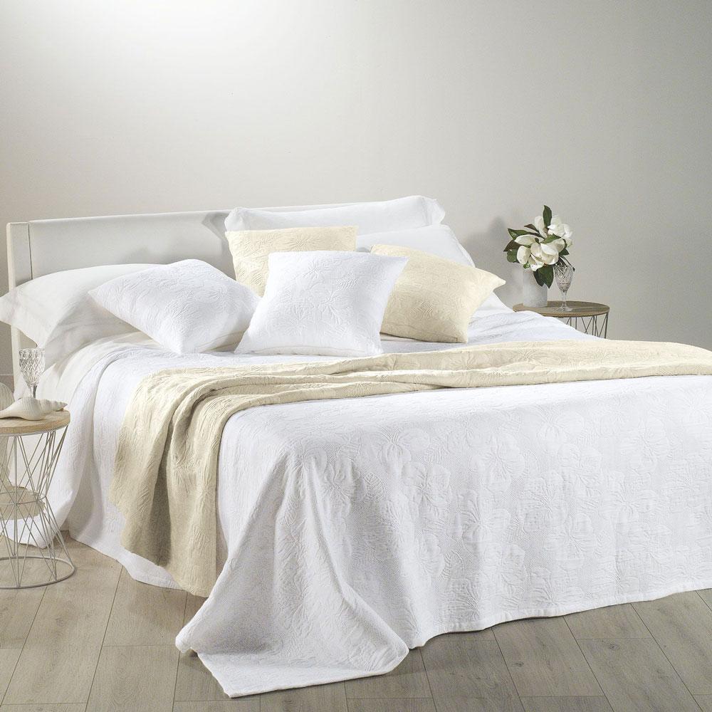 Copriletto leggero cotone matrimoniale CALEFFI Ibiscus bianco