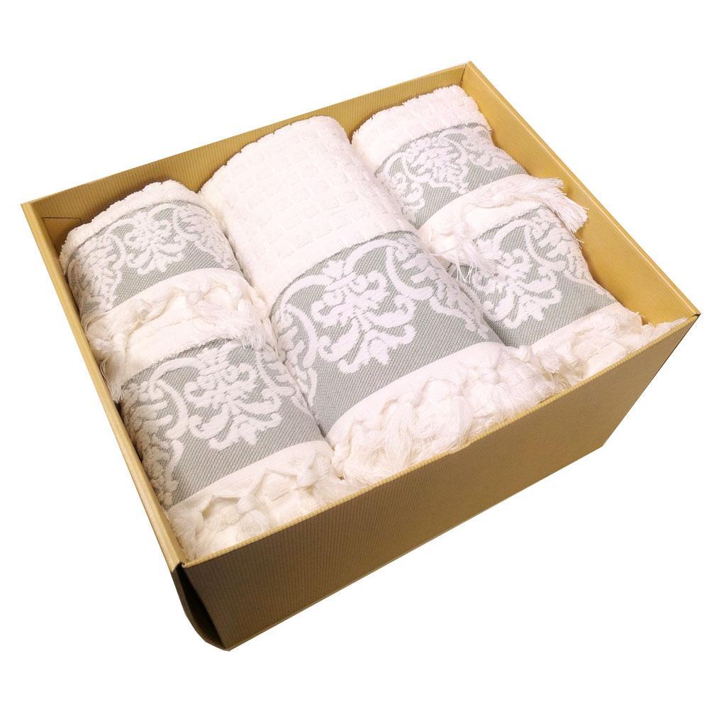 Set asciugamani con frangia - 1 telo + 2 asciugamani + 2 ospiti  CALEFFI SALENTO