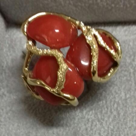 Anello donna in Oro giallo e Corallo rosso del mediterraneo, vendita on line | GIOIELLERIA BRUNI Imperia