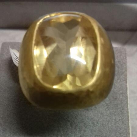 Anello donna in Oro giallo con quarzo citrino, vendita on line   GIOIELLERIA BRUNI Imperia