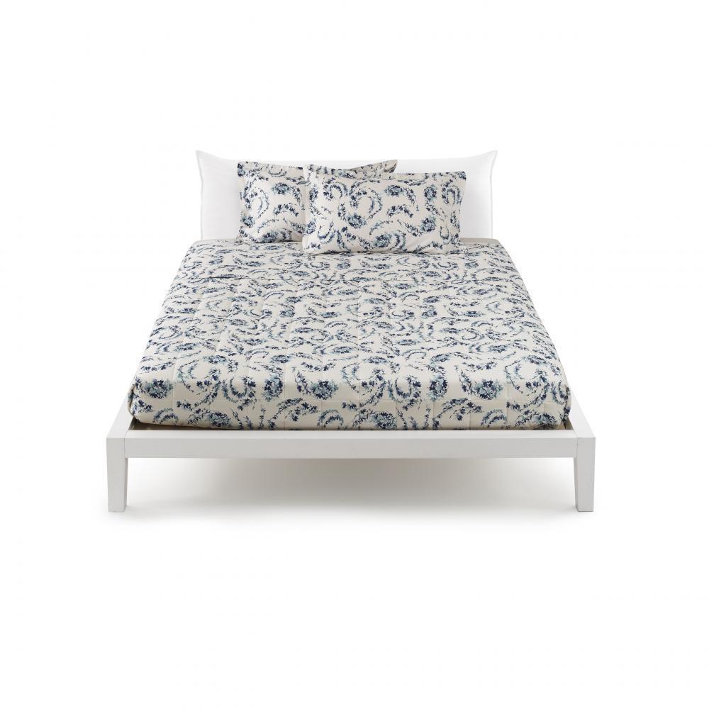 Set letto matrimoniale in raso zucchi easy chic ina 3 floreale blu - Set letto matrimoniale ...