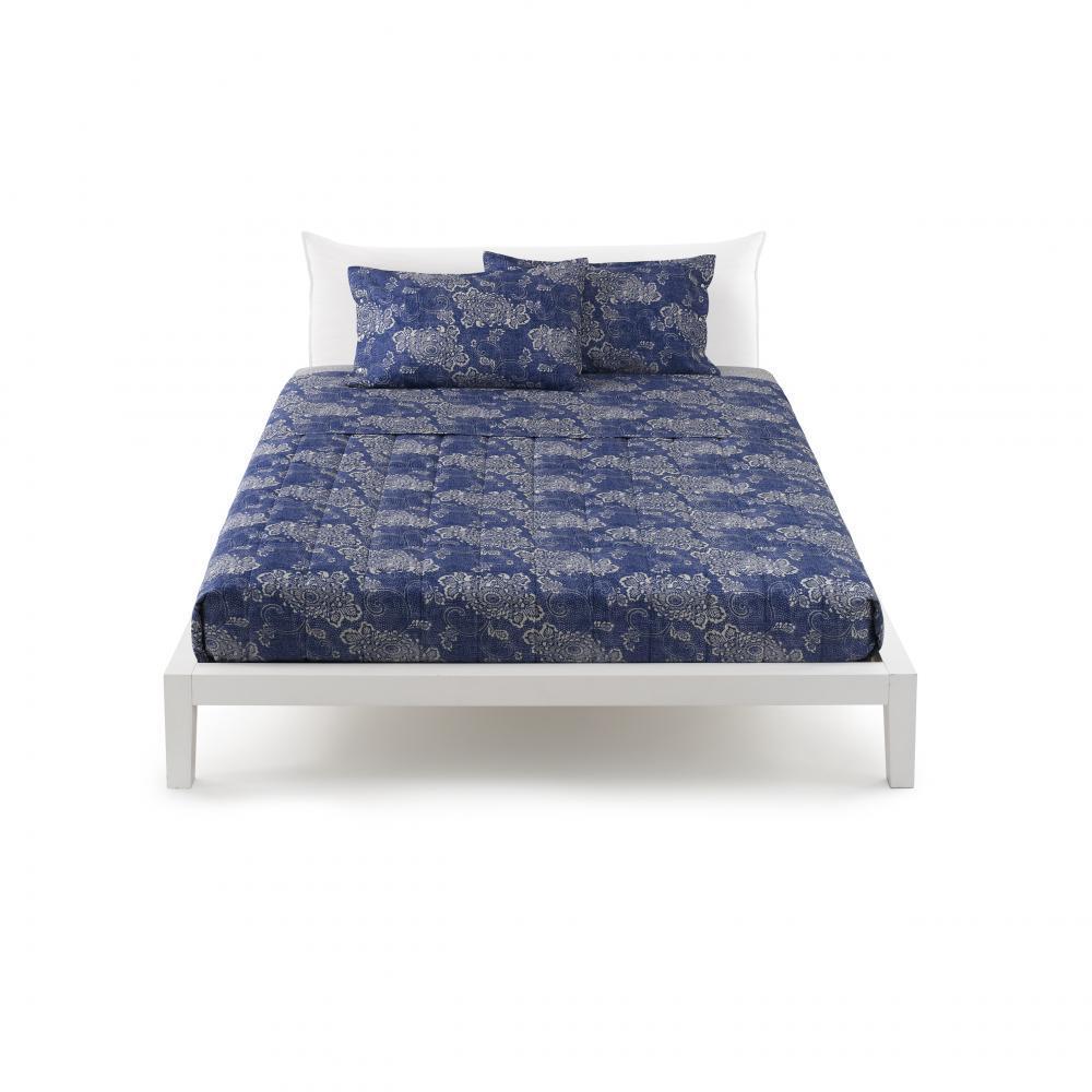 Set letto matrimoniale 2 piazze in raso zucchi easy chic nao 3 floreale blu - Set letto matrimoniale ...