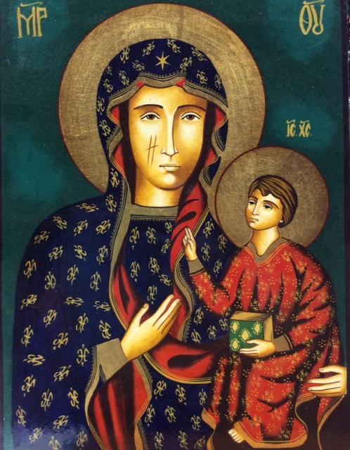 Icona bizantina dipinta Madonna di Czestochowa 23 x 31 cm