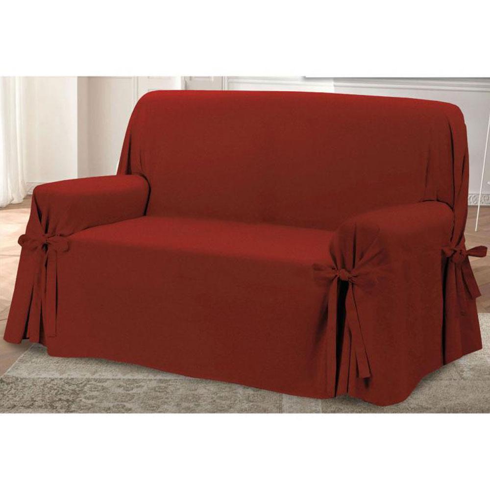 Copridivano con laccetti in panama prezioso 3 posti bordeaux - Granfoulard per divano ...