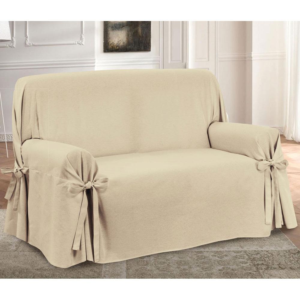 Copridivano con laccetti in panama prezioso 3 posti beige for Granfoulard per divano
