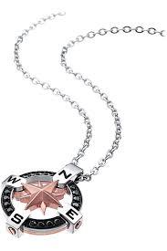 Collana ZANCAN con rosa dei venti acciaio ZIRCONI NERI 50 cm EHC015